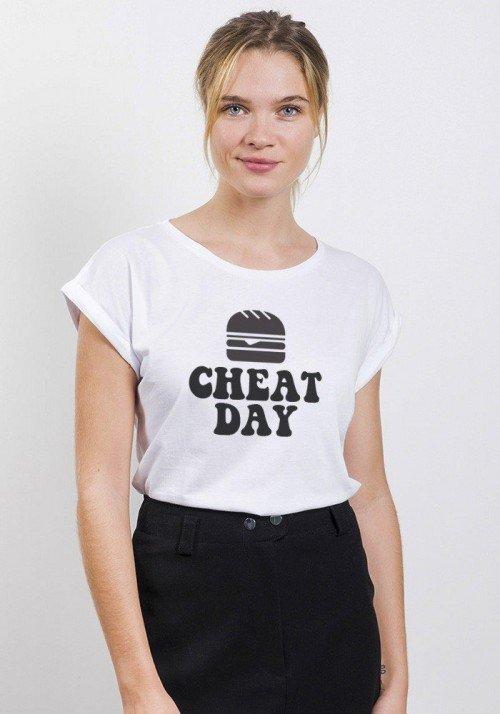 Cheat Day T-shirt Femme Manches Retroussées