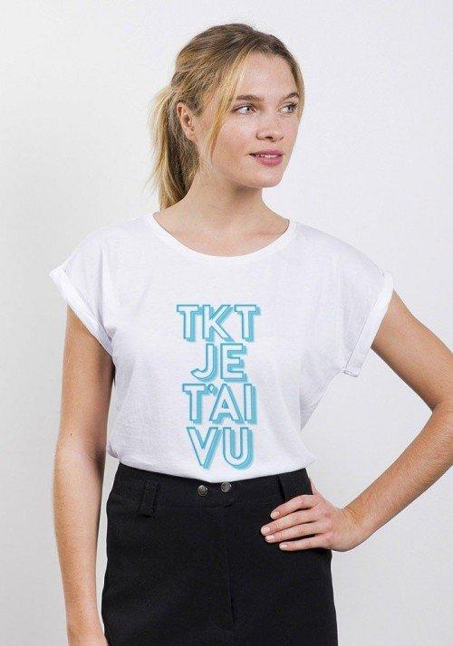 T'inquiète je t'ai vu T-shirt Femme Manches retroussées