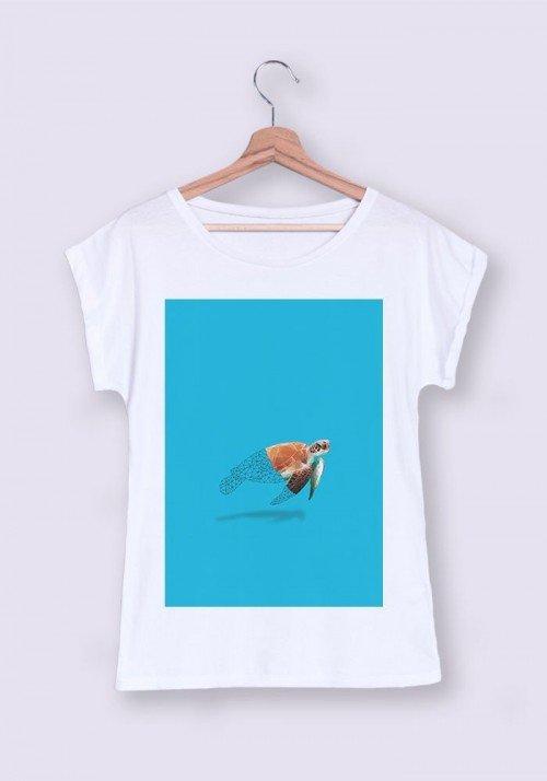 Tortue T-shirt Femme Manches Retroussées
