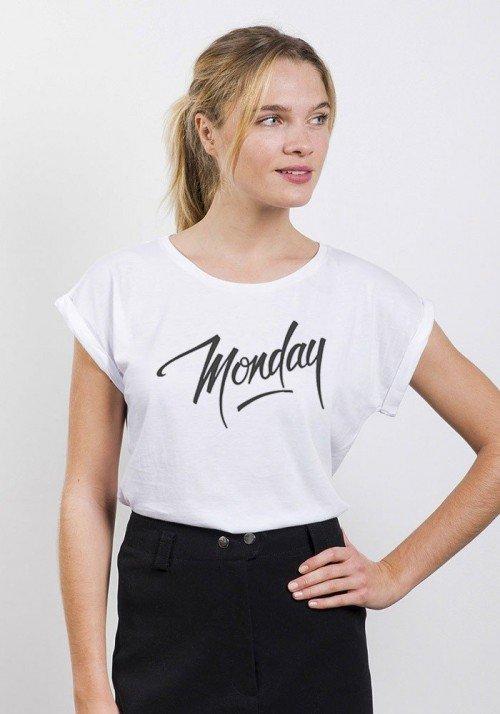 Monday T-shirt Femme Manches Retroussées