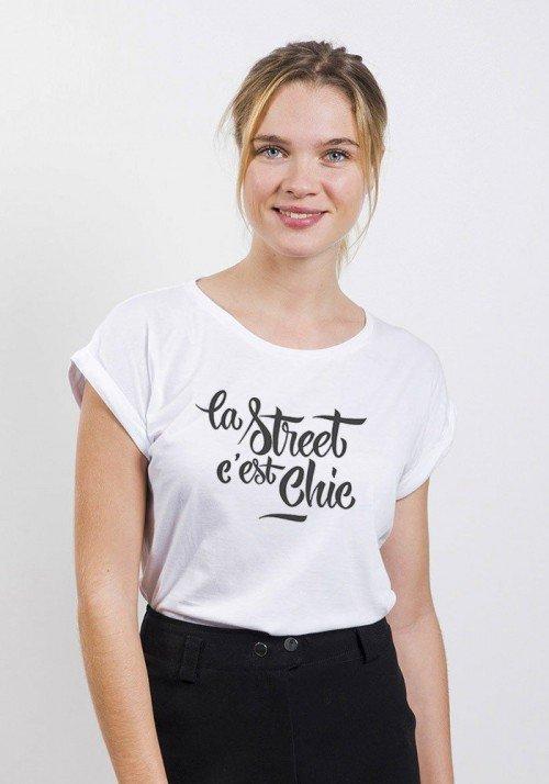 La Street c'est Chic T-shirt Femme Manches Retroussées