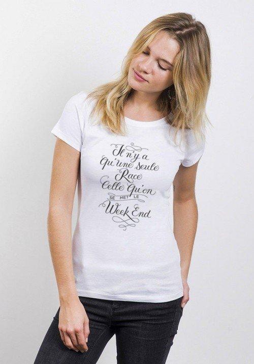 Une Seule Race T-shirt Femme Col Rond