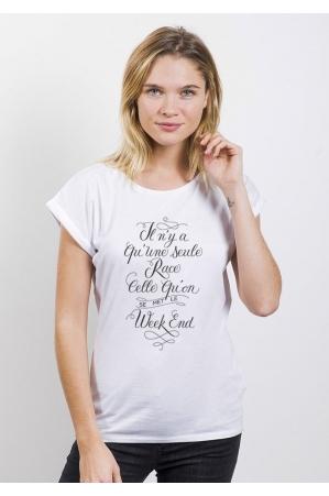 Une Seule Race T-shirt Femme Manches Retroussées