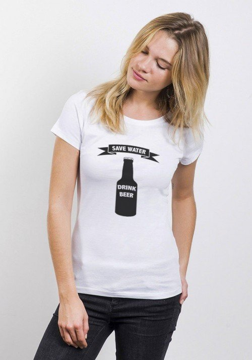 Save Water T-shirt Femme Col Rond