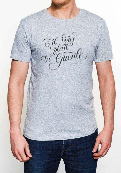 S'il Vous Plaît ta gueule T-shirt Homme Col Rond