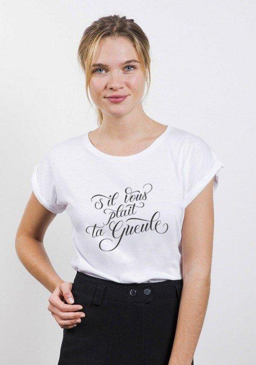 S'il Vous Plaît ta gueule T-shirt Femme Manches Retroussées