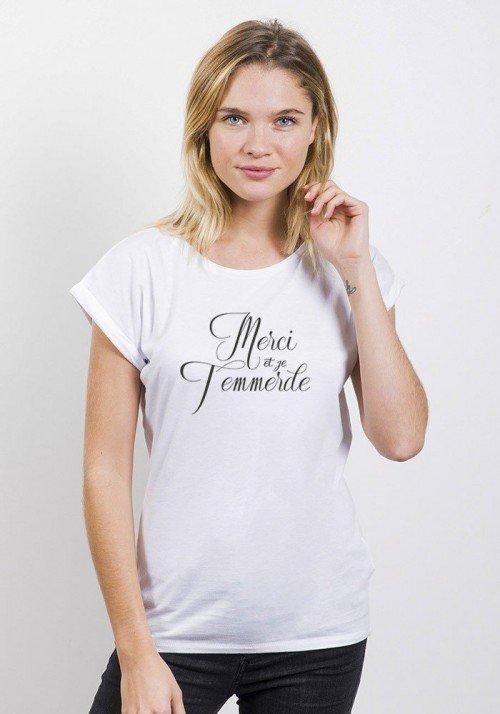 Merci et je t'emmerde T-shirt Femme Manches Retroussées