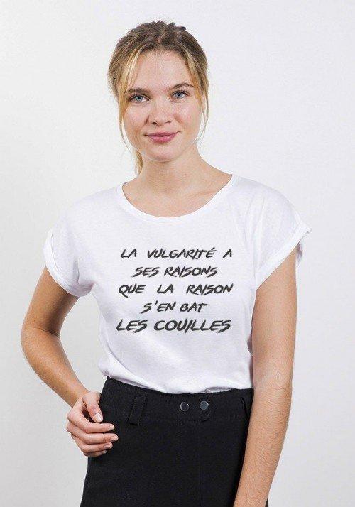 La Vulgarité à ses Raisons T-shirt Femme Manches Retroussées