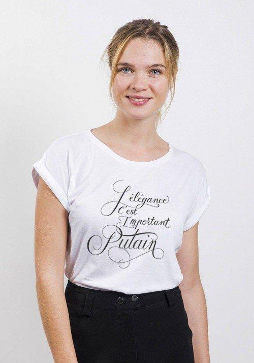 L'élégance c'est important putain T-shirt Femme Manches Retroussées