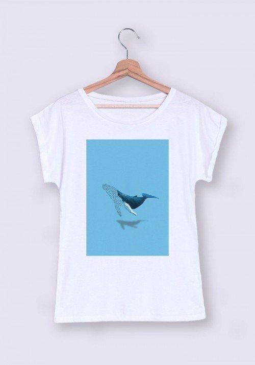 Baleine T-shirt Femme Manches Retroussées