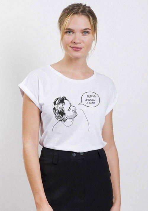 Promis Je baisse le son T-shirt Femme Manches Retroussées