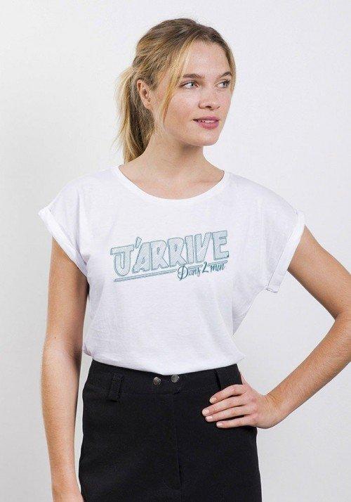 Promis J'arrive T-shirt Femme Manches Retroussées