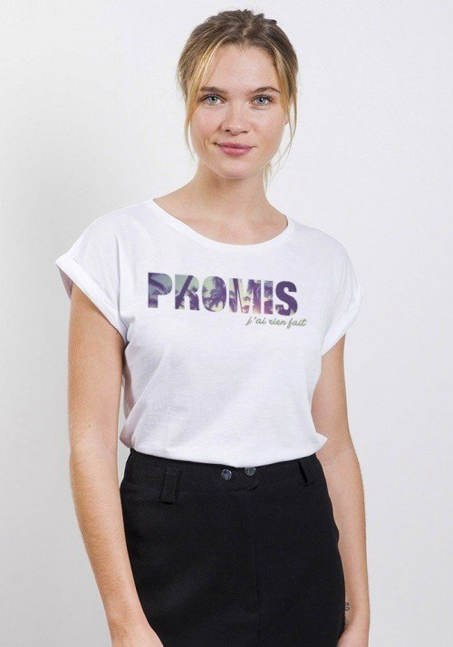 Promis J'ai rien fait T-shirt Femme Manches Retroussées