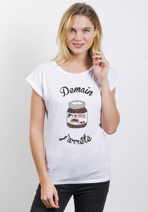 Nutella T-shirt Femme Manches Retroussées