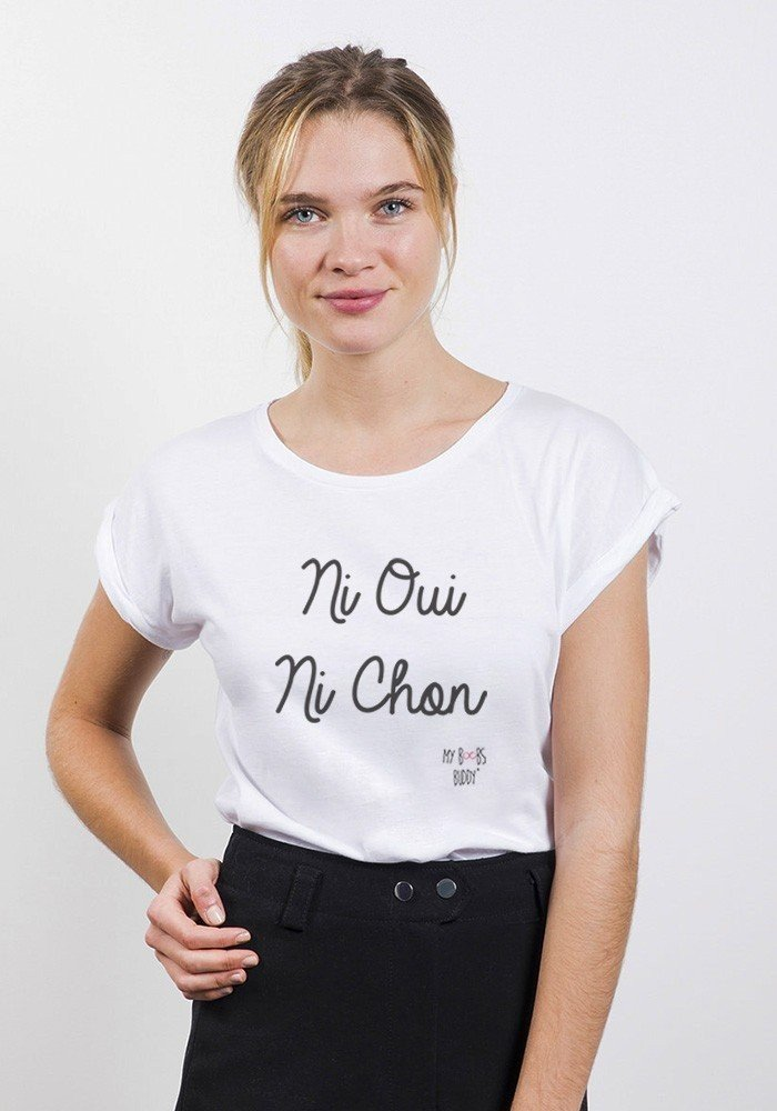 Tshirts femme manches retrousses ni oui ni chon my boobs - Bon de reduction trend corner ...