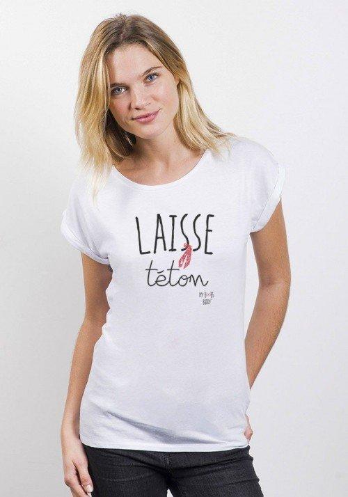 Laisse téton T-shirt Femme Manches retroussées
