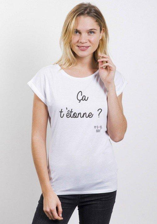 Ca T'étonne T-shirt Femme Manches Retroussées