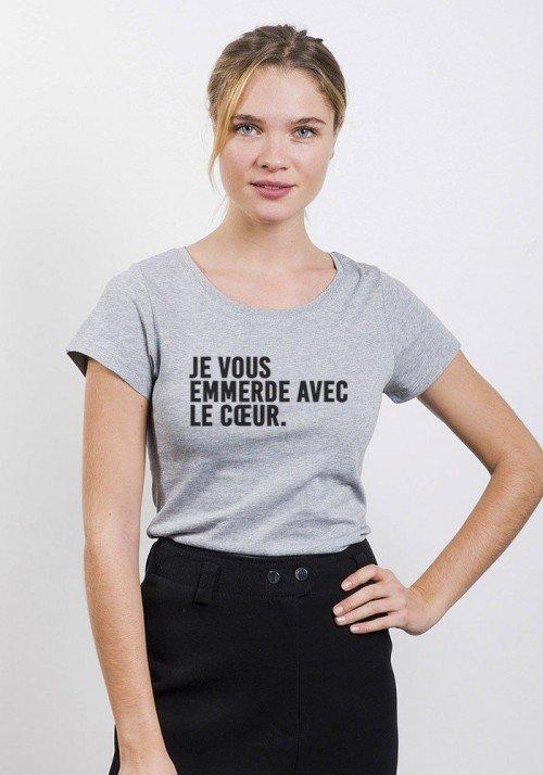 Je vous emmerde avec le coeur T-shirt Femme Col Rond - JLG
