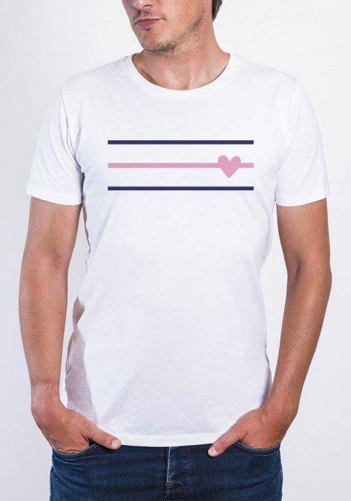 Coeur rayé  Tee-shirt Homme