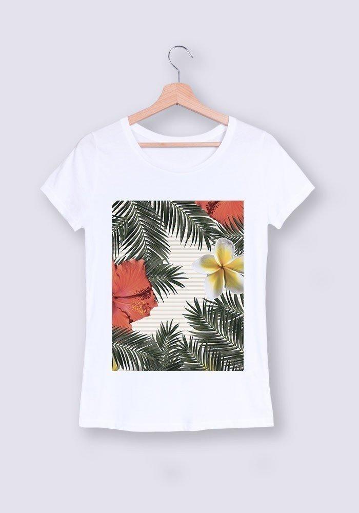 Coeur rayé  - Tshirt Col rond femme