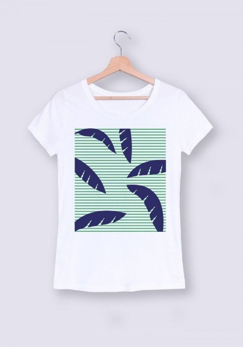Palmier Rayures - Tshirt Col rond Femme