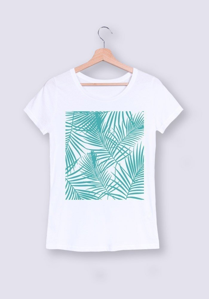 Palmier Turquoise - Tshirt Col rond Femme