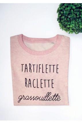 Tartiflette Raclette Grassouillette - Sweat rose chiné Femme