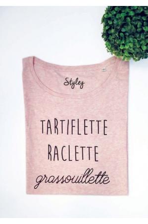 Tartiflette Raclette Grassouillette T-shirt rose chiné femme