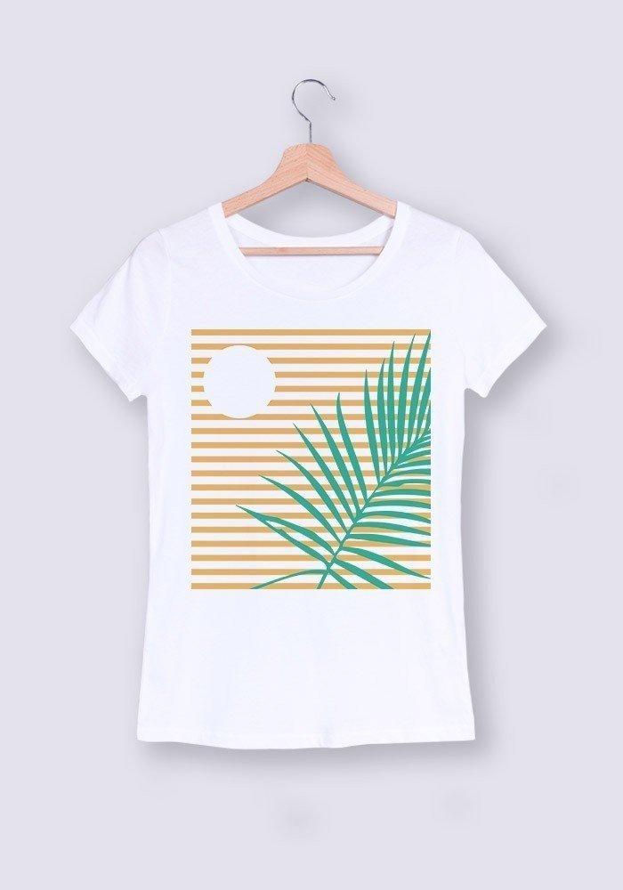 palmier crépuscule - Tshirt Col rond femme