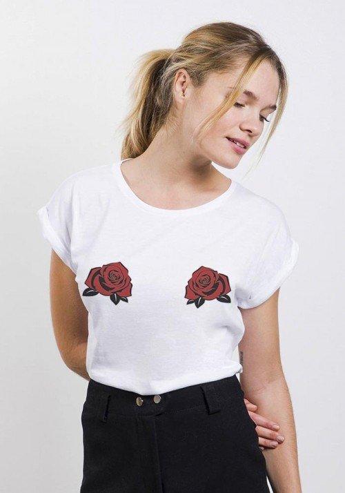 Double rose - T-shirt manches retroussées Femme
