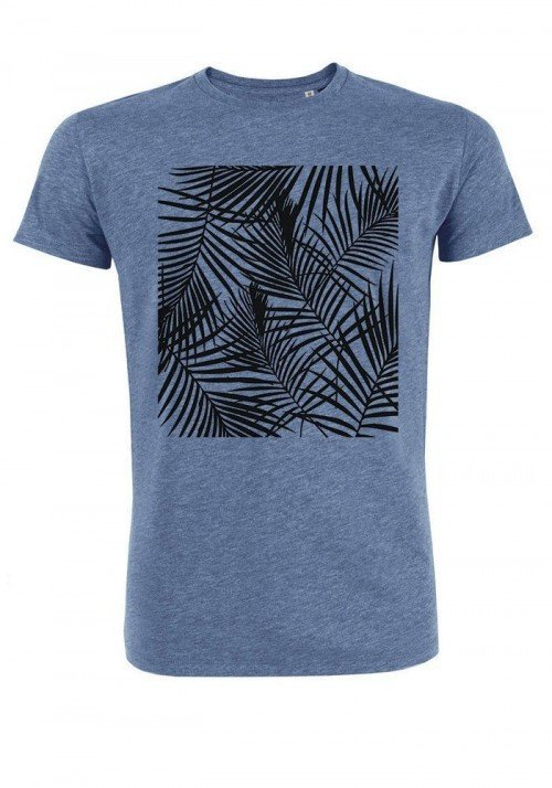 Tropical noir - T-shirt bleu chiné Homme