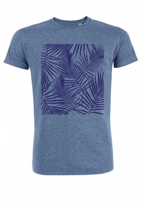 Tropical bleu - T-shirt bleu chiné Homme