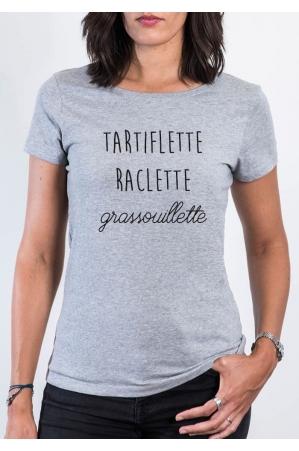 Tartiflette Raclette Grassouillette T-shirt gris chiné femme