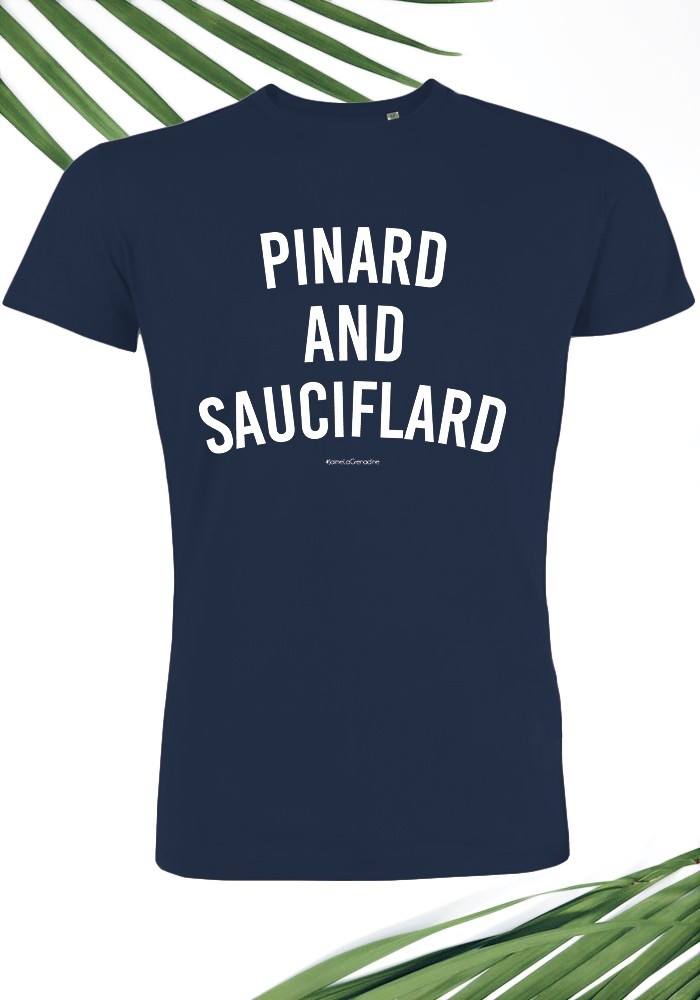 Pinard and Sauciflard T-shirt Homme Navy Col Rond