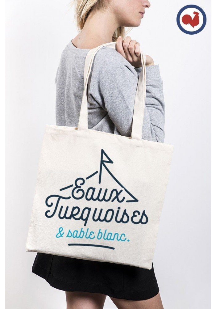eaux turquoise et sable blanc Totebag Made in France