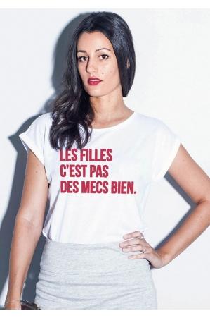 Les filles c'est pas des mecs bien - T-shirt Manches retroussées Femme
