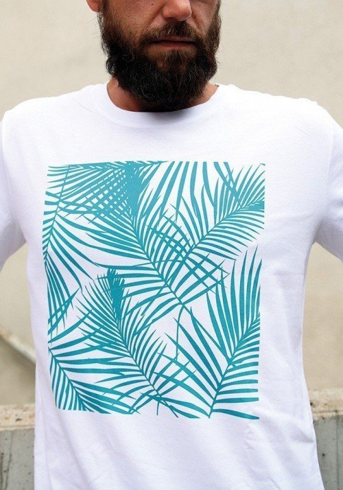 Palmier Turquoise - Tshirt Col rond Homme
