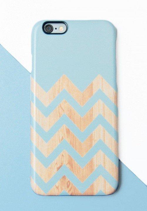 Chevrons bois bleu- Coques smartphones