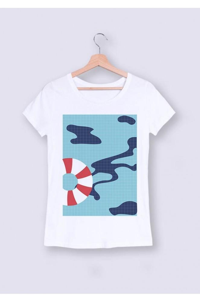 T shirt col rond femme piscine de la marque artflat for T shirt piscine
