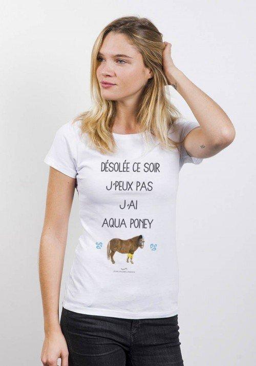 Aqua Poney T-Shirt Femme Col Rond