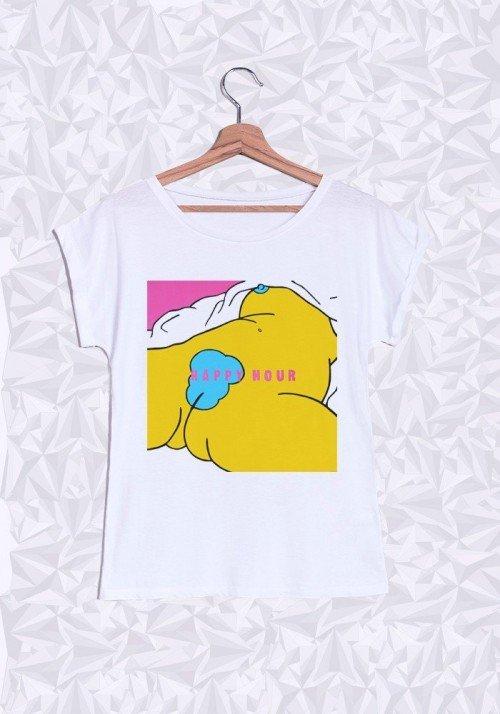 Happy Hour T-shirt Femme Manches Retroussées
