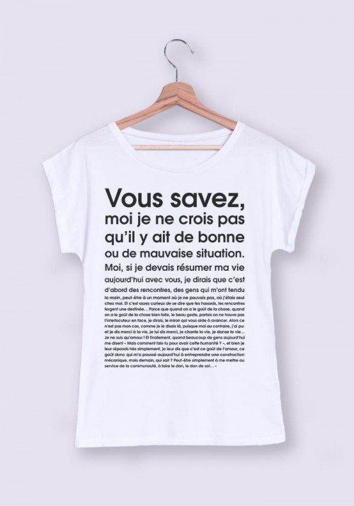 T-shirt Femme - Je ne crois pas qu il y ait de bonne ou de mauvaise situation manches retroussées