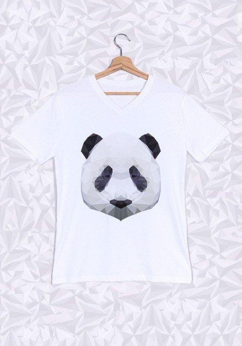 Panda T-shirt Homme Col V