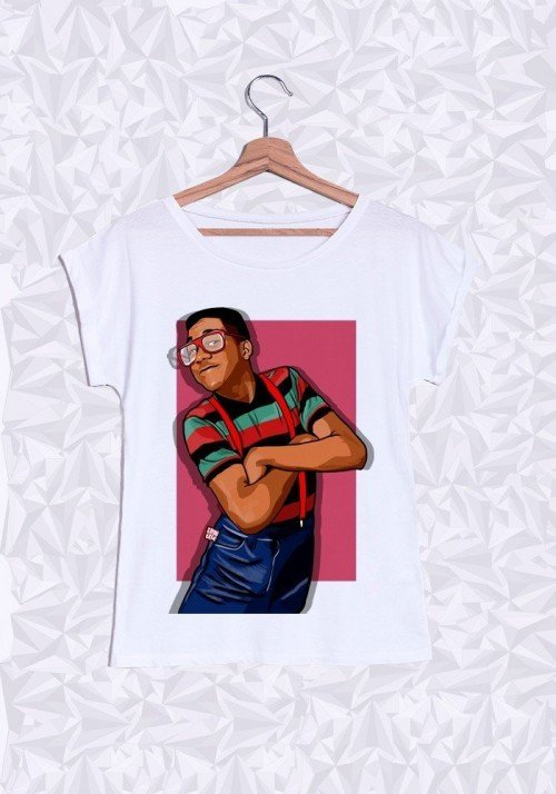 Steve Urkel T-shirt Femme Manches Retroussées