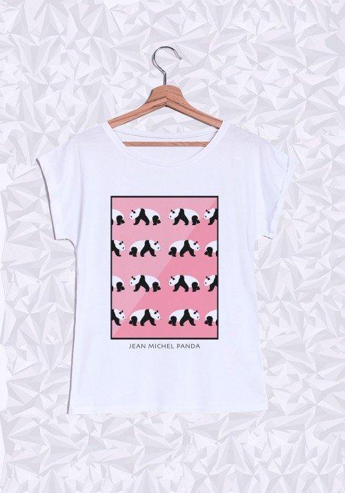 Panda Rose T-Shirt Femme Manches Roulées