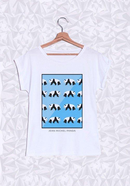 Panda Bleu T-Shirt Femme Manches Roulées