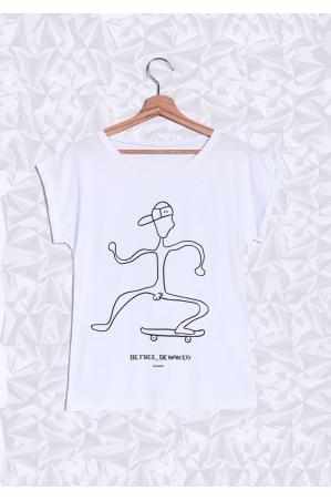 Be Free Skate T-shirt Femme Manches Retroussées