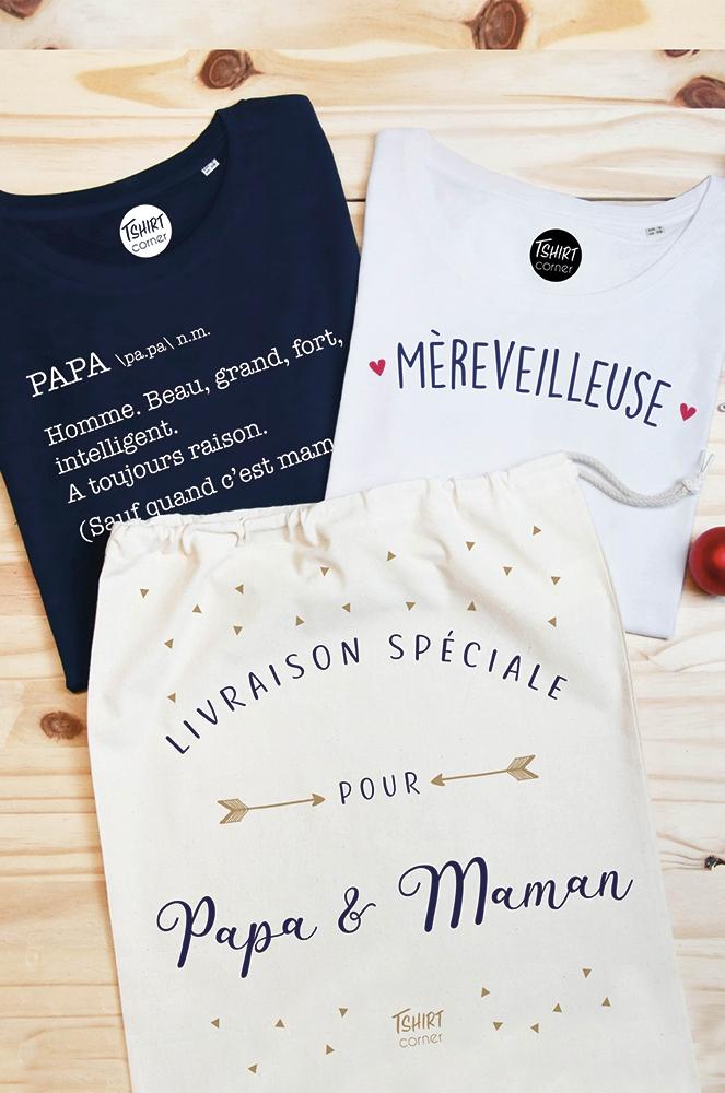Le pack cadeau pour les parents   T shirt mereveilleuse   papa