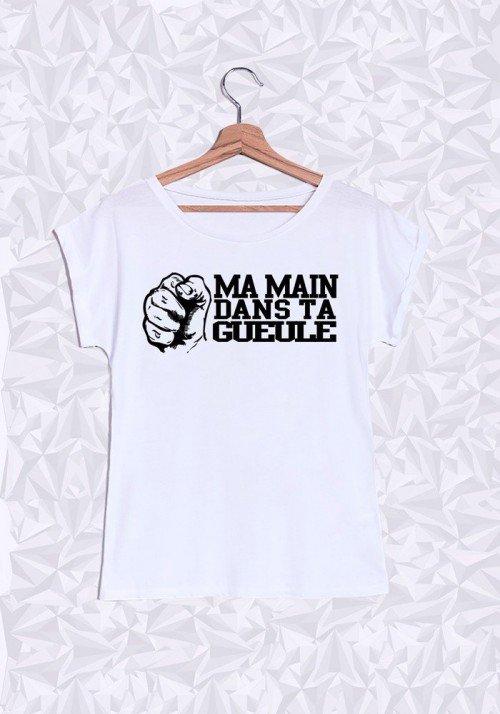Ma main dans ta Gueule T-shirt Femme Manches Retroussées