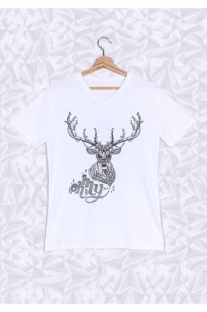 Oh My Deer T-shirt Homme Col V